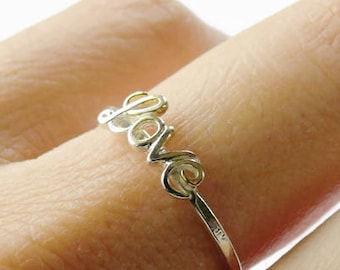 c5e872a386 Script love ring • Sterling silver love ring • Love word ring • Girlfriend  gift • Anniversary gift for her • Romantic gift stacking ring