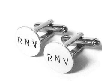 Silver Monogram cufflinks personalized cuff links Initial cufflinks custom cufflinks men wedding cufflinks sterling silver cufflinks