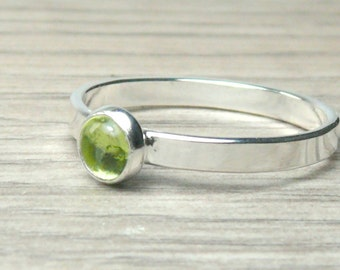 Sterling peridot ring sterling silver stacking ring stackable gemstone ring