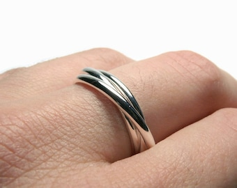 Sterling silver rolling ring • Russian wedding ring interlocking rings • Triplet ring sterling silver ring set interlinked rings handmade