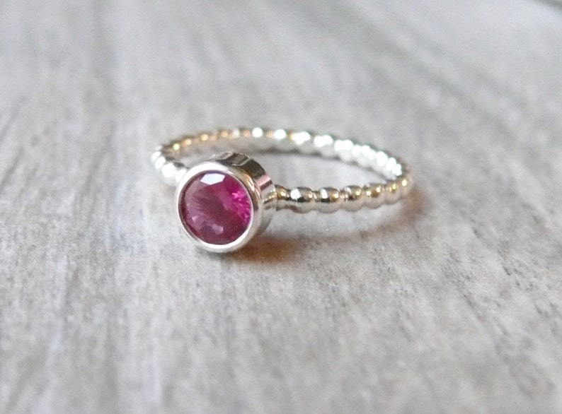 Sterling silver Cubic zirconia ring stacking gemstone ring sterling silver ring beaded band bezel ring tube set lab pink ruby ring CZ ring