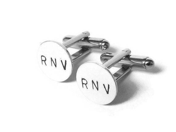 15MM Solid 925 Sterling Silver Cufflinks Customized Personalized 3 Letters Monogram Initial Cuff LinksWedding Gift for Him