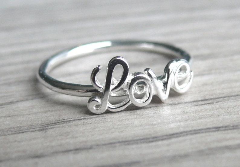 290ee2c37b Script love ring Sterling silver love ring Love word ring | Etsy