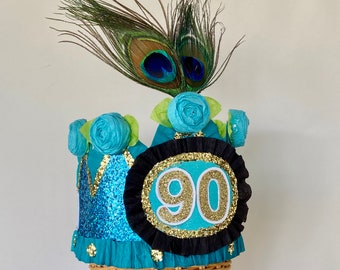 90th Birthday crown, 90th birthday hat, 90th party hat, peacock birthday hat, 90 or customize it, fits any size