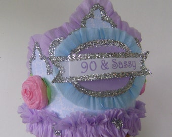 90th Birthday Party Hat Crown Adult Lavander Customize