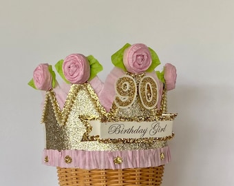 90th Birthday crown, 90th birthday hat, 90th party hat, BIRTHDAY GIRL pink and gold,  90 or customize it, fits any size