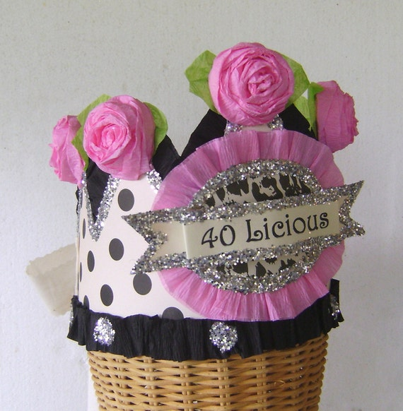 40th Birthday Party Hat Crown Adult Girl Customize