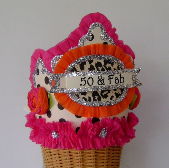 50th Birthday Party Crown Hat Adult Girl 50 Fab Or Customize