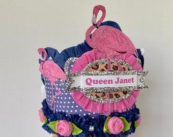 FLAMINGO Birthday Hat, Adult Birthday Hat, Falmingo Birthday Crown, Flamingo Birthday, custom birthday hat, Customize it!