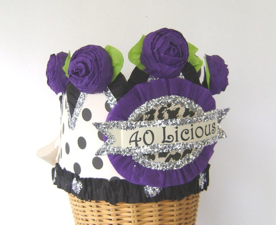 40th Birthday Party Crown Hat Polka Dot Customized