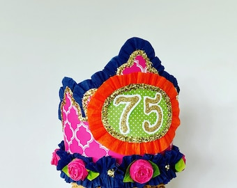 75th birthday Crown, 75th birthday Hat, Adult Birthday hat, over the hill birthday hat, customize it!