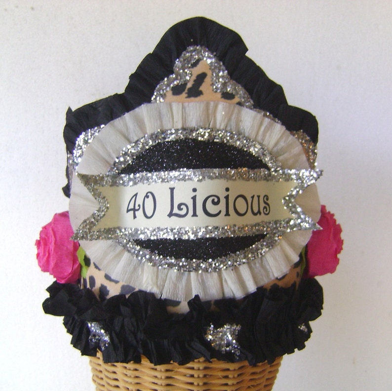 customize 40th Birthday Party Crown 40th birthday 40th birthday party hat leopard birthday hat Adult Birthday hat