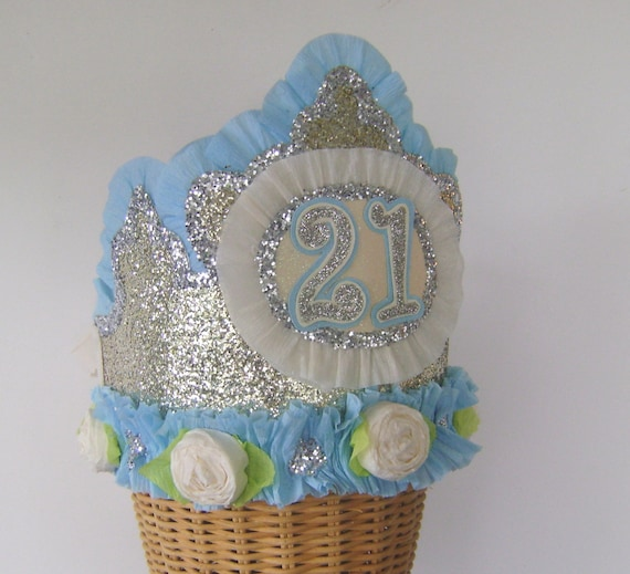 21st Birthday Party Crown Hat Gold Glitter Customize