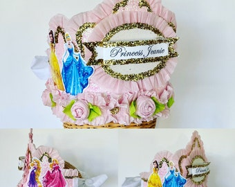 PRINCESSES Birthday Crown, PRINCESSES Birthday hat, Princess crown, customize with princesses of choice, customize it