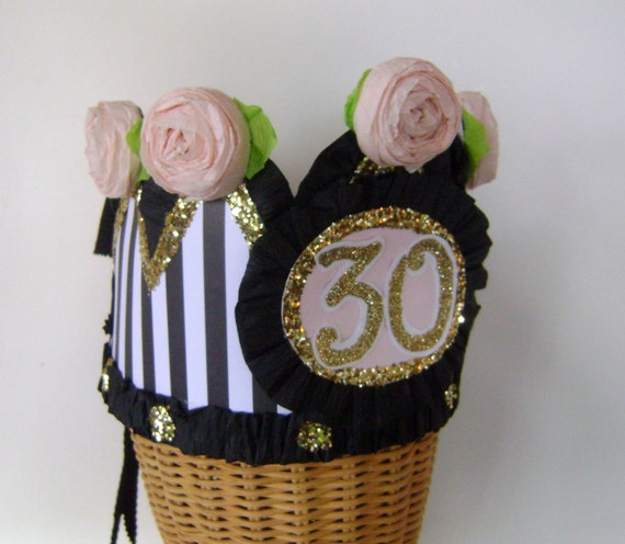30th Birthday Party Crown Hat Adult Or Child Customize With Any Number Banner