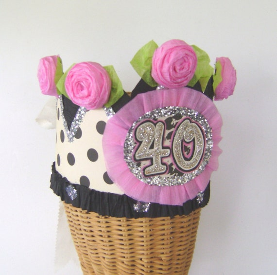 40th Birthday Party Crown Hat Black Polka Dot 40 Or Any Number You Want CUSTOMIZE