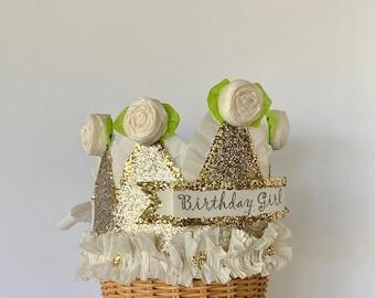 Birthday crown, birthday hat, adult birthday hat,  Gold and pink birthday hat, customize it!