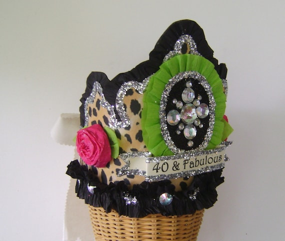 40th Birthday Party Crown Hat Adult Leopard Customize