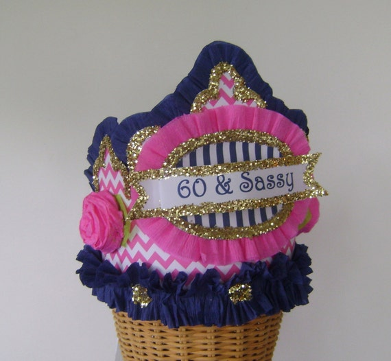 60th Birthday Hat Crown Pink And Navy Customize It