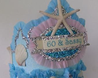mermaid Birthday crown, mermaid birthday hat, under the sea birthday hat, 60th birthday hat, fits adult or child, customize it!