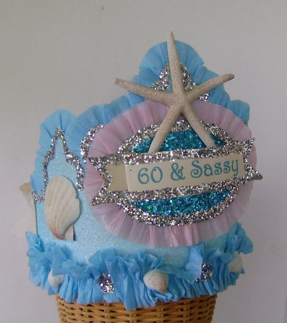 Mermaid Birthday Crown Hat Under The Sea Party 60th Shells Starfish