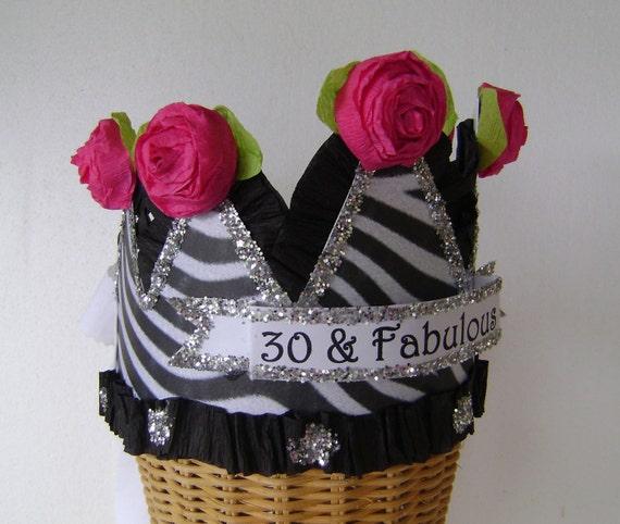 30th Birthday Hat Crown Zebra