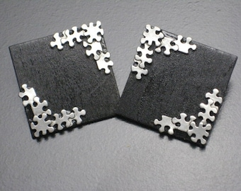 Black and Silver Puzzle Stud Wood Earrings