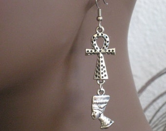 Antique Silver Nefertiti and Ankh Earrings