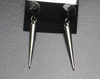 Silver Colored Spike and Cone Stud Earrings