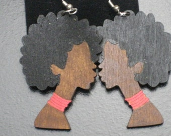Afro Lady Silhouette Painted Wood Profile Earrings - Red