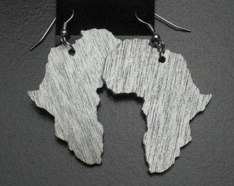 Silver Painted Wood Africa Earrings