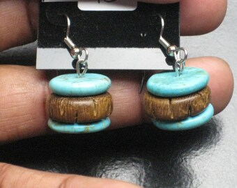 Real Turquoise and Wood Beaded Earrings