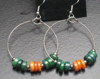Green and Orange Shell Hoop Earrings