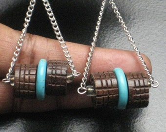 Real Turquoise, Wood and Chain Earrings