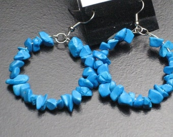 Turquoise Dyed Howlite Stone Chip Hoop Earrings