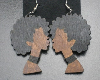 Afro Lady Silhouette Painted Wood Profile Earrings - Black