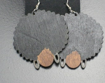 Wood Afro Head Earrings With Silver