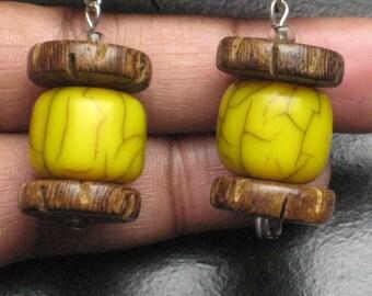 Yellow Resin and Wood Beaded Earrings
