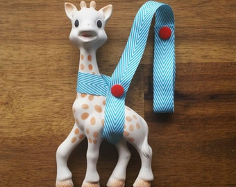 Sophie Saver/Toy Saver Leash- Blue and White Chevron ribbon, different colour snaps available