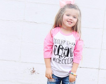 Cooler Than Cool Penguin Raglan Ice Cold Trendy Baby Toddler Youth Collab Tee Shirt