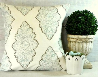 Blue Damask Pillow Covers - Soft Blue and White Pillow - Robins Egg Blue - French - Shabby Chic - Cottage - Romantic
