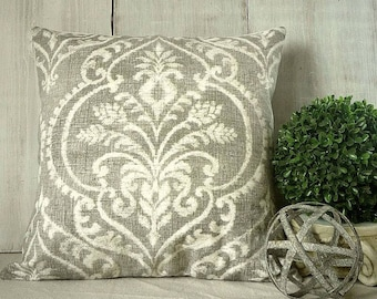 Grey Pillow Cover, Taupe Gray Damask Pillow Cover, French Farmhouse, Paris Cottage Style, Traditional Decor, 18x18, 20x20, 22x22, 24x24