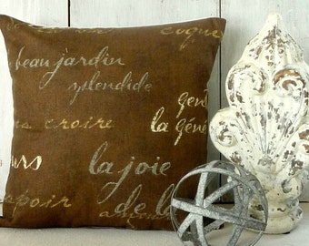 French Script Pillow Cover - Chocolate Brown Pillow Cover - French Writing Pillow - Paris Pillow - Industrial