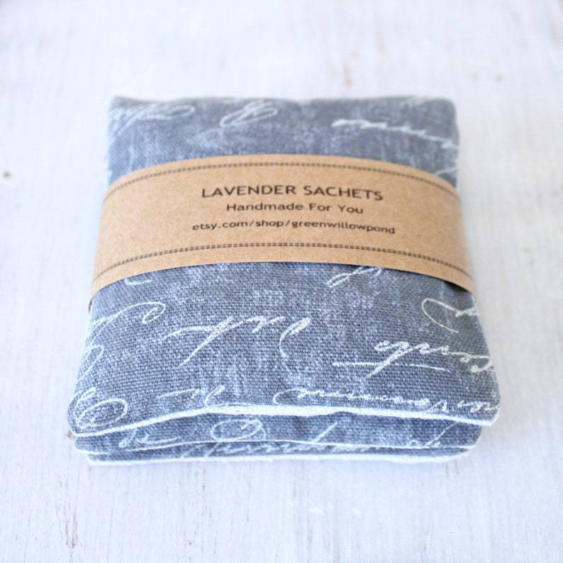 Closet Freshener for Drawers Set of Lavender Sachets in Gray French Script Car and More.