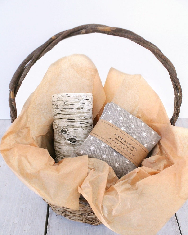 Lavender Bags Set of 3 Drawer Sachets with Tan Mini Stars for Closet Car or Home.