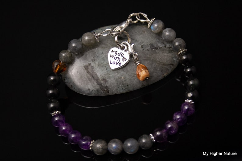 AURA SHIELD Manifestation Intention Bracelet-Top Quality Stones-Durable-With Amethyst,Obsidian /& Labradorite- Choose from 6-8 mm Beads.