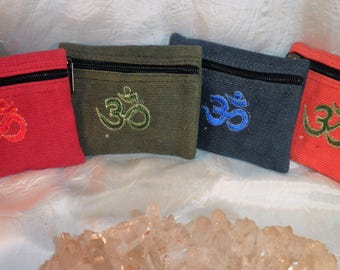 """OM Symbol Coin POUCH- Small Handmade Cotton - Coin, Mala, Amulet, Keepsakes Chakra Stones Bag -4.5"""" x 3.5"""" Lined - Zippered"""