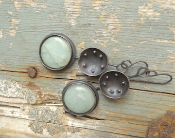 Natural Aquamarine Round Copper Artisan Earrings One Of A Kind Earthy Gift For Her Boho