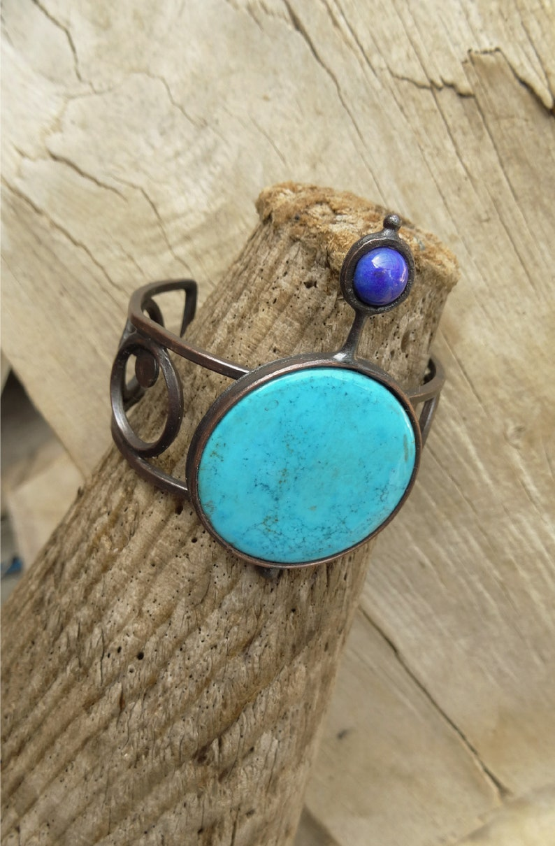 Minimalist Large American Turquoise Lapis Cuff,Rustic Copper Cuff Bracelet,Statement.Gift For Her,OOAK