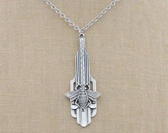 Vintage Jewelry - Art Deco Necklace - Honey Bee Necklace - Silver Necklace - Chloe's Vintage Jewelry - handmade jewelry